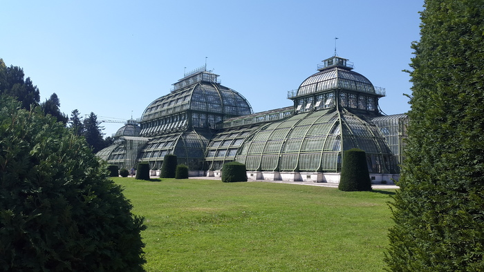 the exterior of the greenhouse at the Royal Palace in Wien, Austria